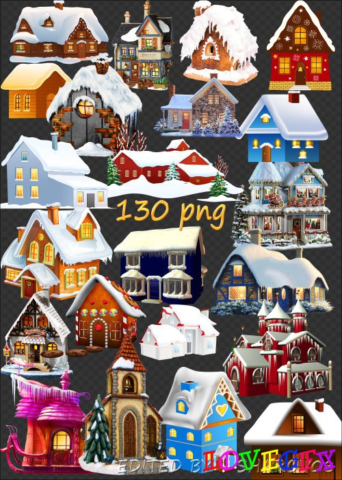 Clipart on a transparent background - Snow-covered huts, houses, buildings