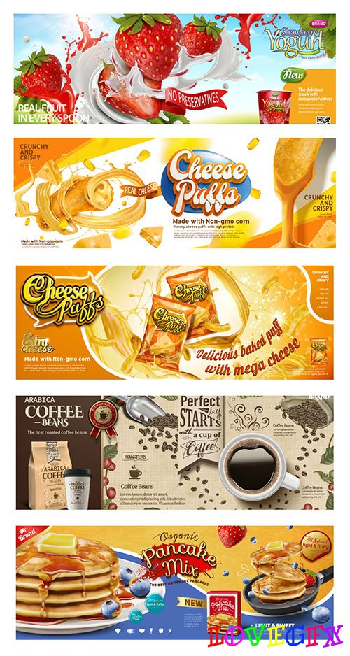 Food vector poster ads in engraving style in 3d illustration