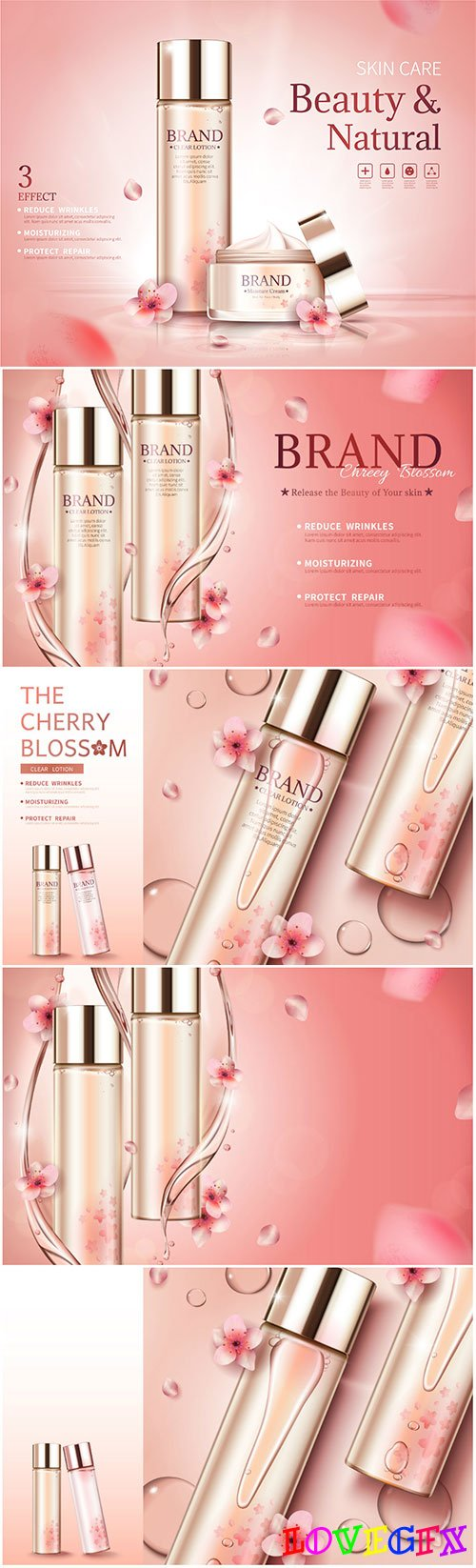Cherry blossom skin care ads with swirl essence and petals in 3d vector illustration