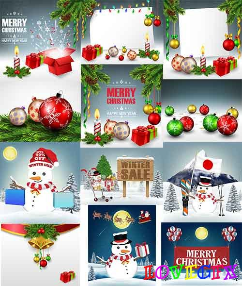 Christmas backgrounds -3 - Vector Graphics