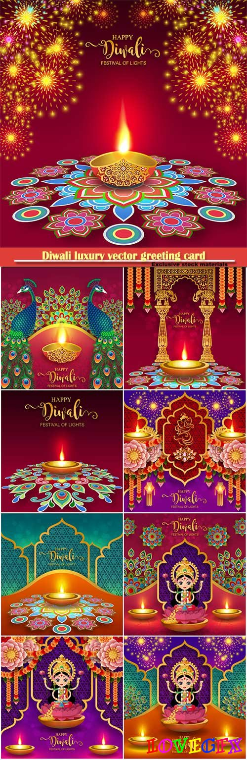 Diwali luxury vector greeting card # 7