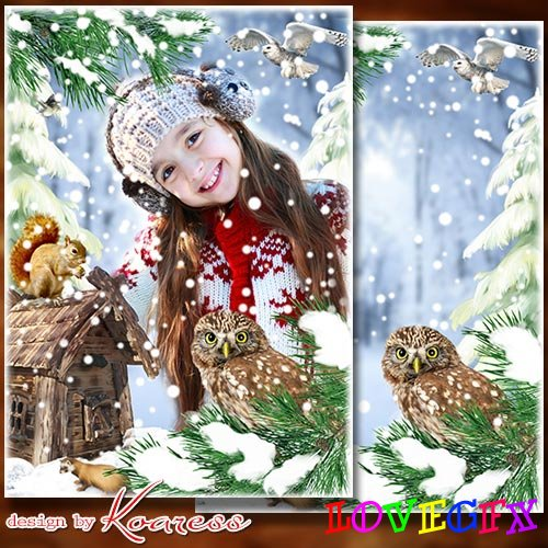 Frame for children photos -  Snow on the pines, on the bushes, firs are in the white fur coats