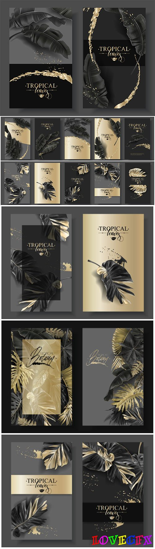 Vector banners with black gold tropical leaves and splashes, luxury exotic botanical design for cosmetics