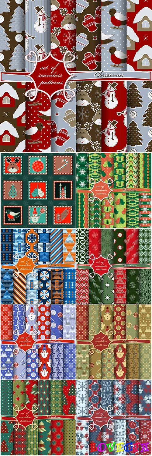 Set of christmas seamless textures in vector