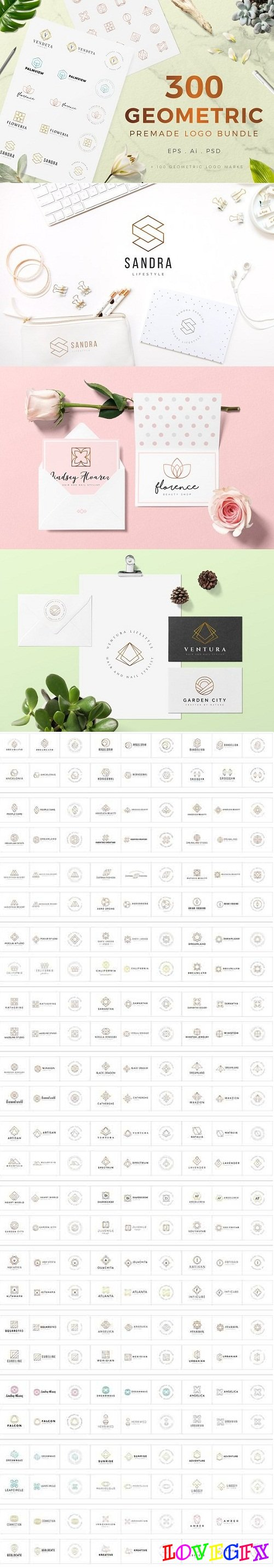 300 Geometric Premade Logo Bundle 3155393