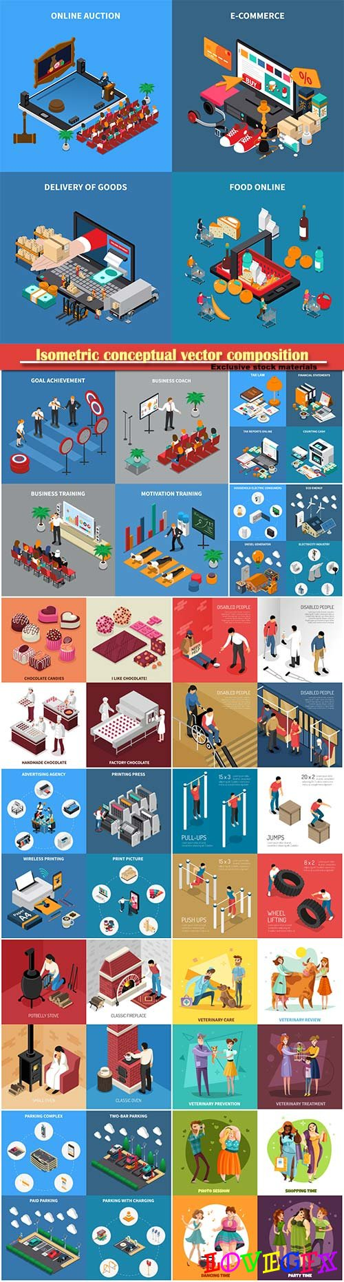 Isometric conceptual vector composition, infographics template # 61