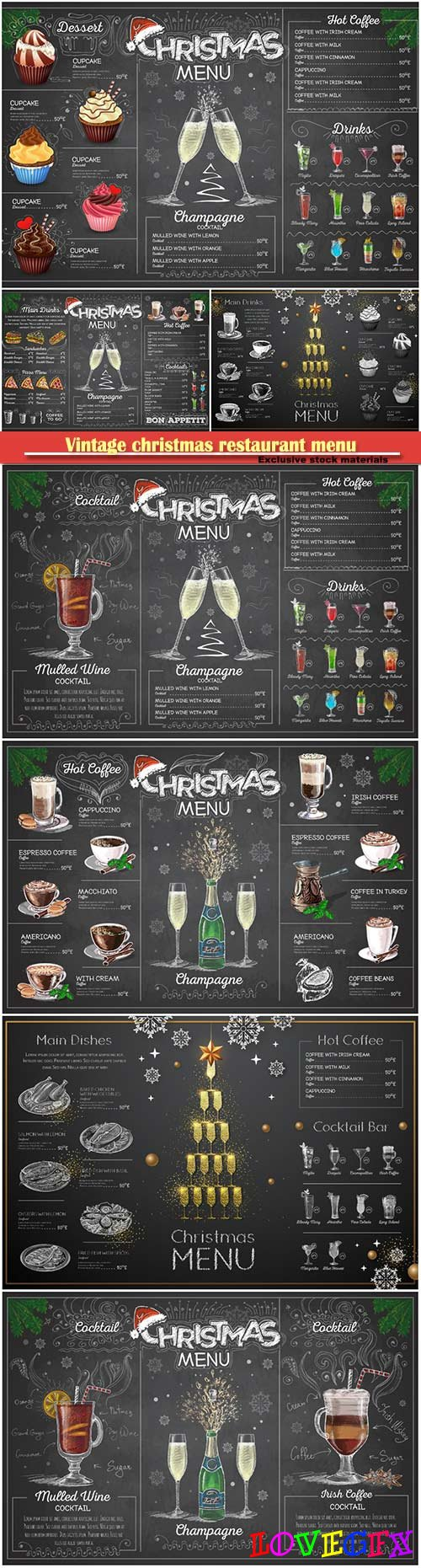 Vintage christmas restaurant menu design with champange