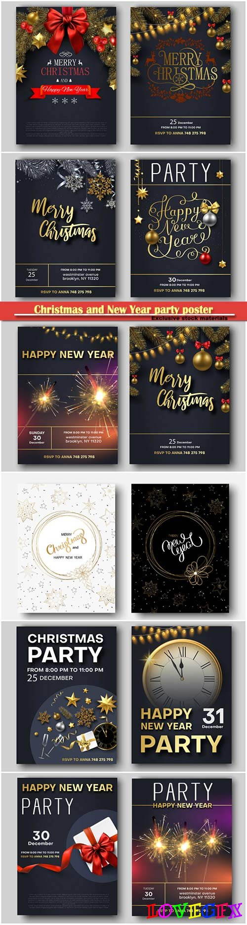 Christmas and New Year party poster or invitation vector templates