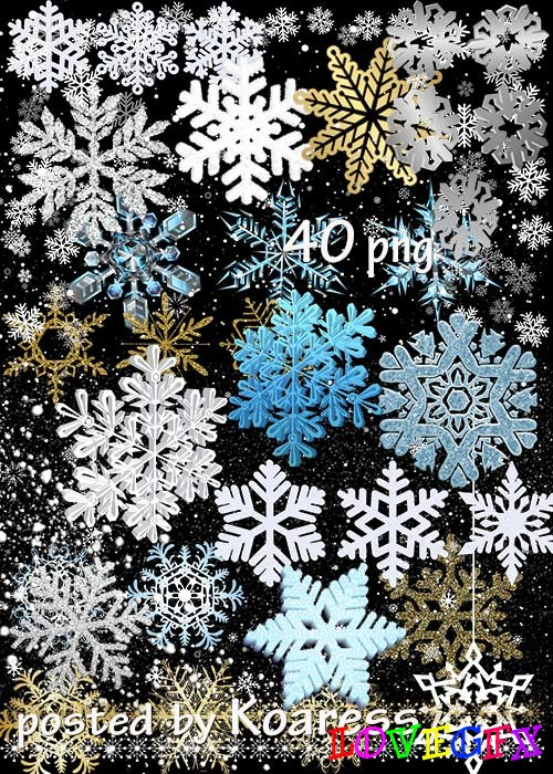 Clipart png - Golden, silver, white, blue, 3D snowflakes and snowfall overlays