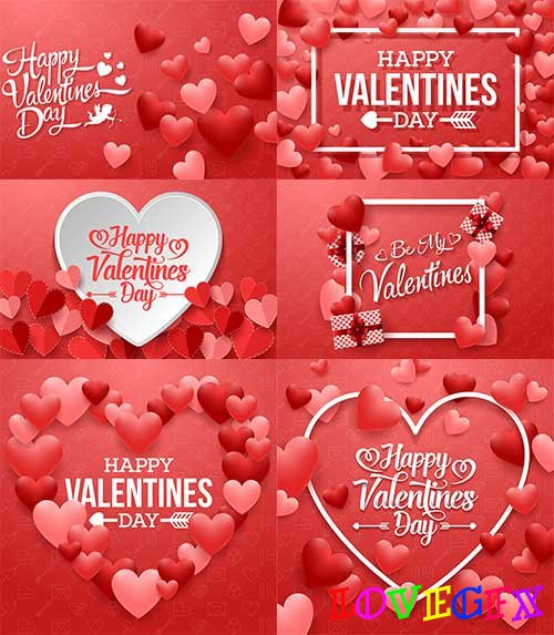 Romantic heart backgrounds - 3 - Vector Graphics
