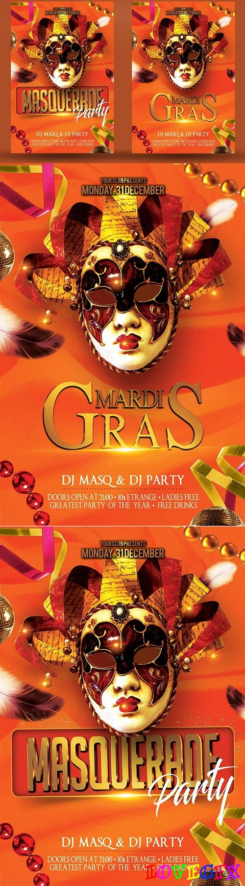 Masquerade Mardi Gras Party Flyer 3375517