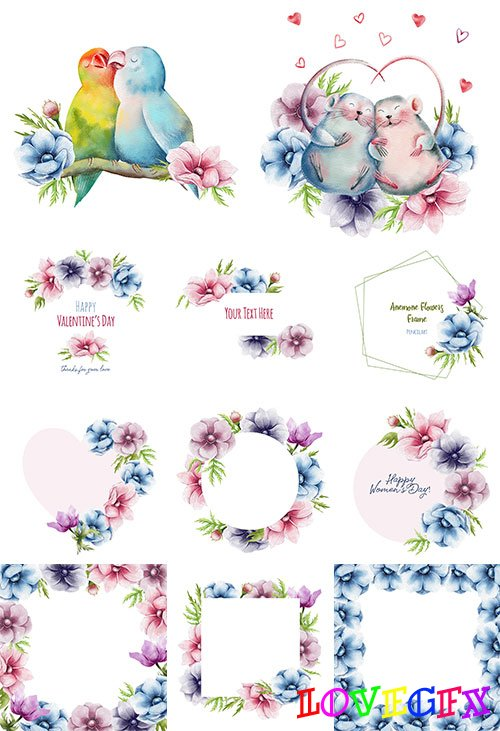 Frames with anemone flowers - Vector Graphics