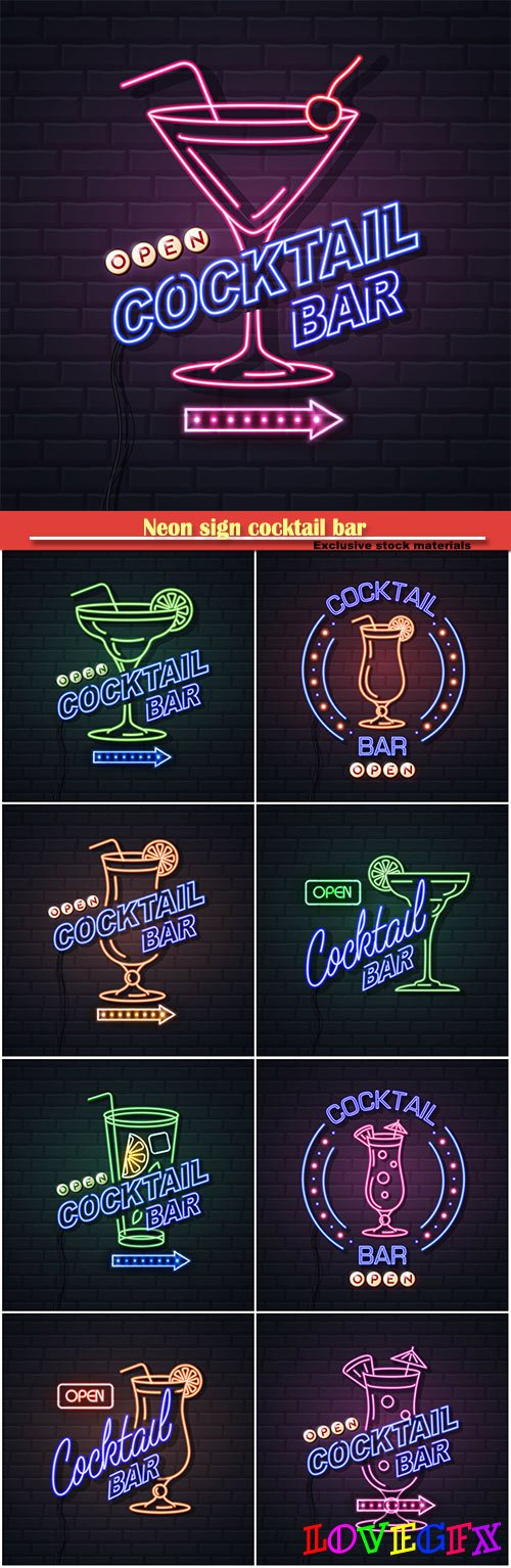 Neon sign cocktail bar on brick wall background