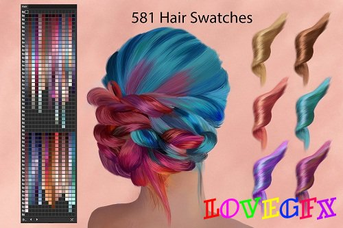 Hair Ai and PS Swatches for DigitalPainting - 2910291 - 1573631