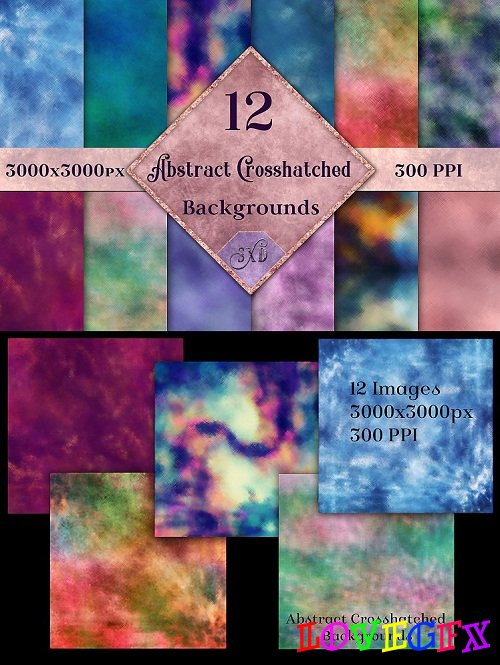 Abstract Crosshatched Backgrounds - 12 Image Set - 227737