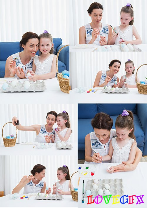 Mother and daughter are preparing for Easter - Raster clipart