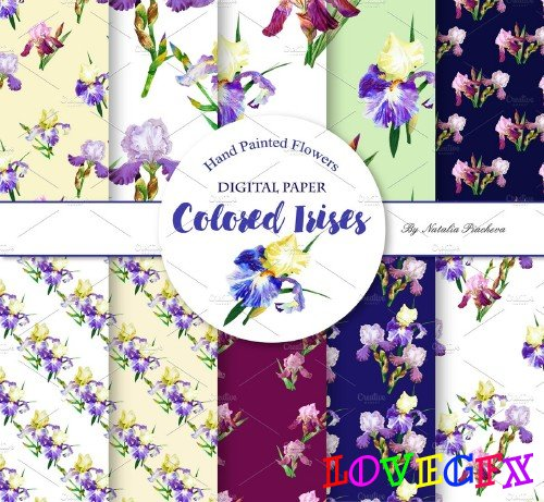 Digital Paper with Colored Irises - 799769