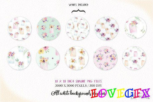Flower Jar Watercolor Patterns Set - 2639343