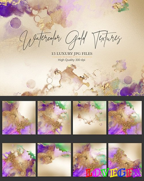 Watercolor Gold Textures - 2598016