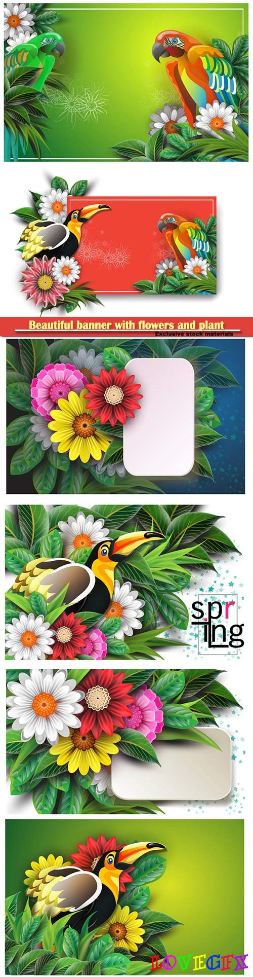 Beautiful banner with flowers and plant fronds set with bird
