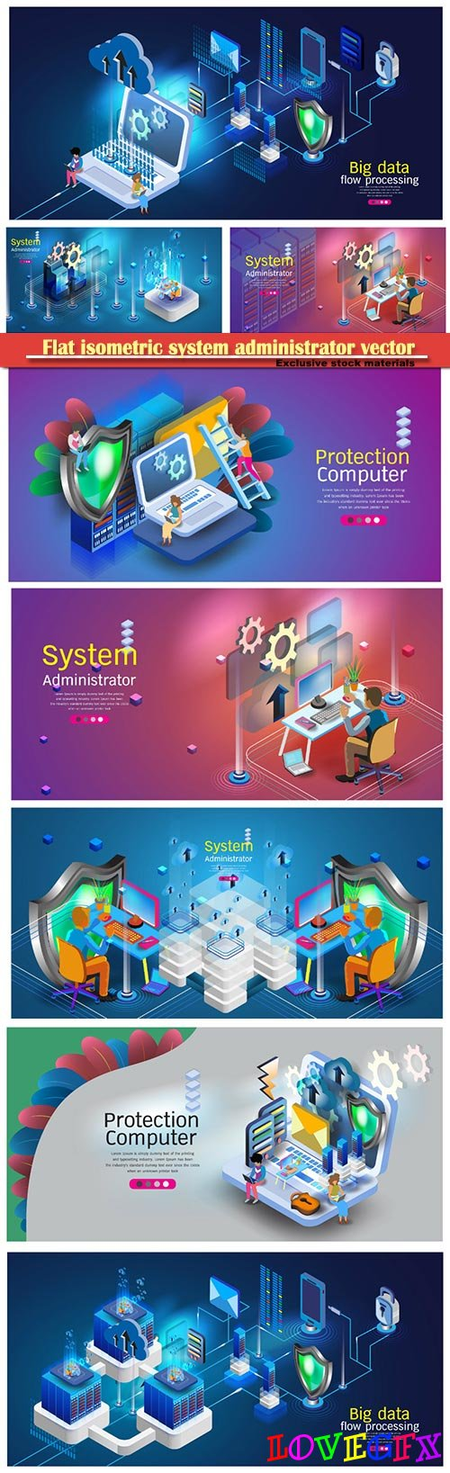 Flat isometric system administrator vector illustration