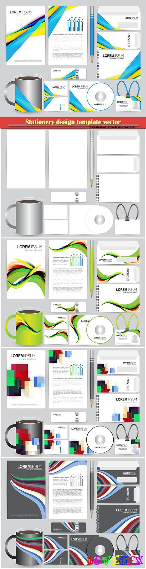 Stationery design template vector illustration