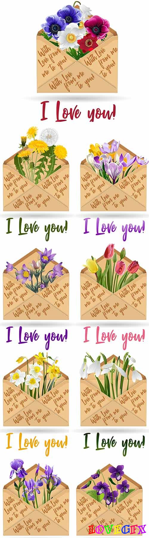 Flowers in envelope - Vector Graphics