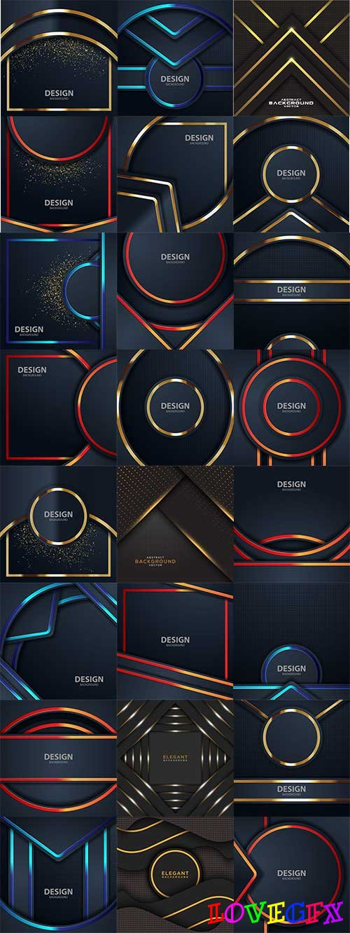 Dark backgrounds with multicolored lines in vector