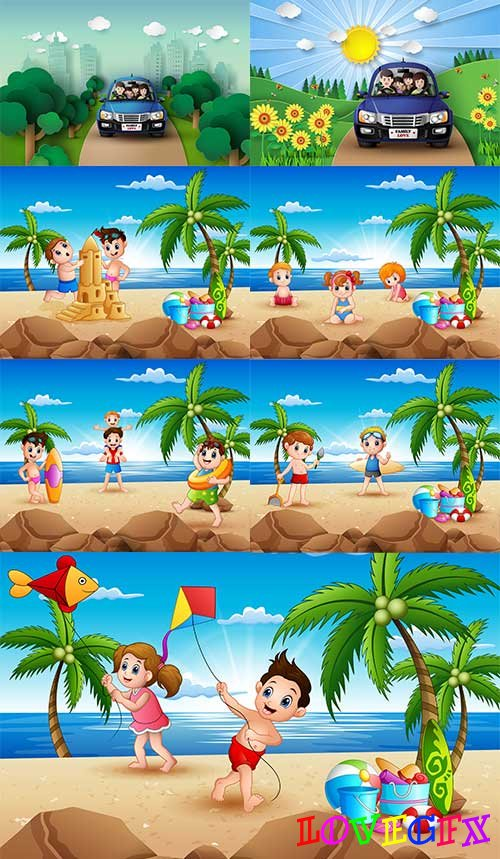 Summer vacations - Vector Graphics