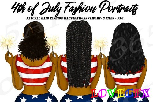 4th of July Fashion Clipart, Natural Hair, Independence Day - 267874