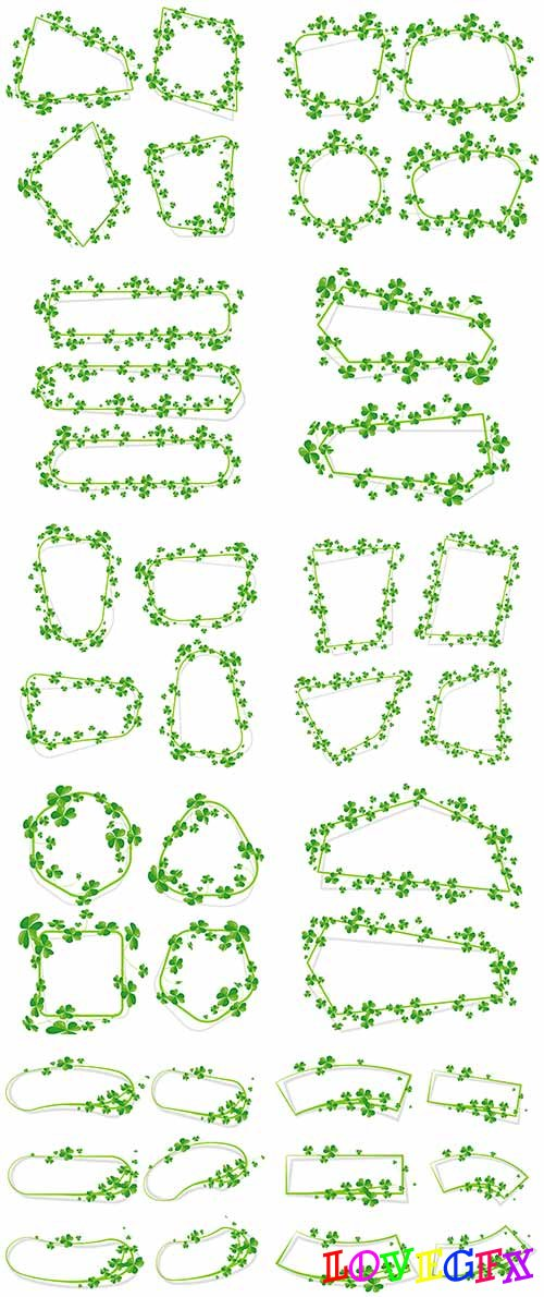 Frames-banners from leaves - Vector Graphics
