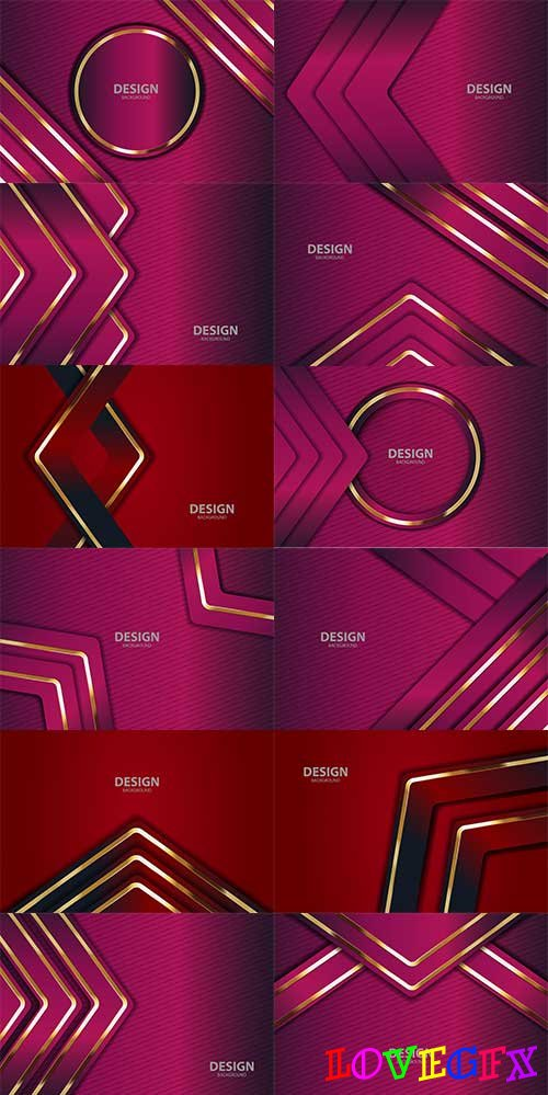 Red backgrounds with gold lines in vector