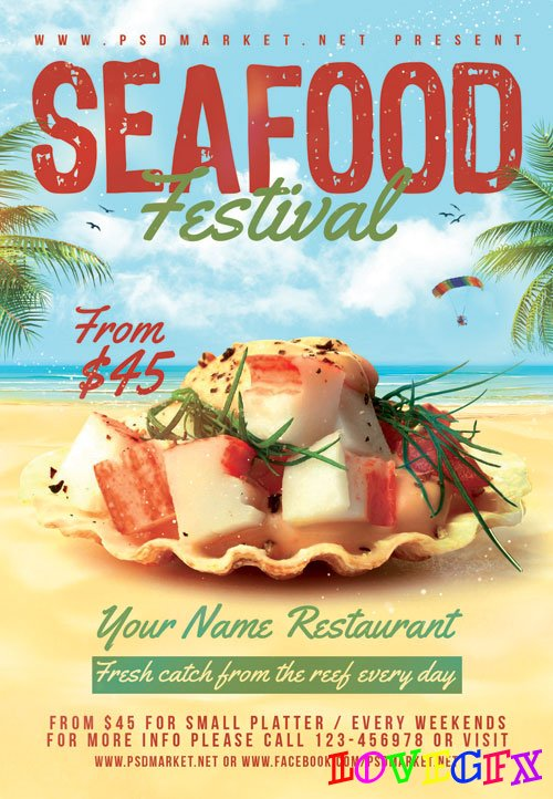 Seafood festival - Premium flyer psd template