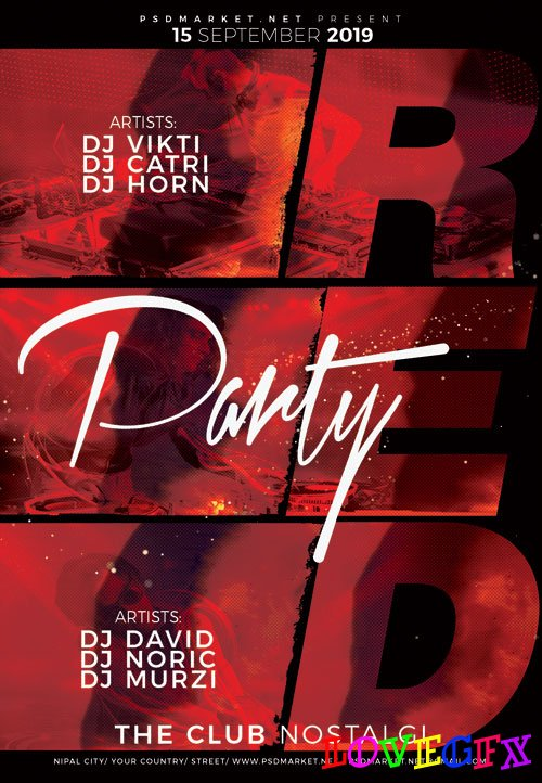Red party - Premium flyer psd template