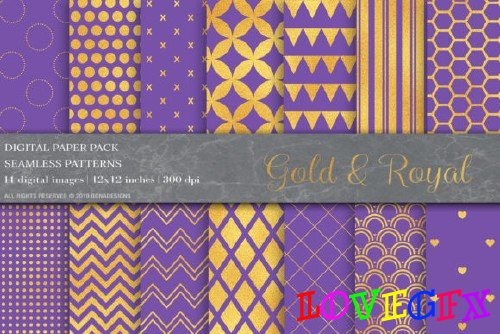 Gold Geometric Digital Papers - 4011348