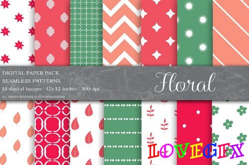 Floral Digital Papers,Patterns - 4008809