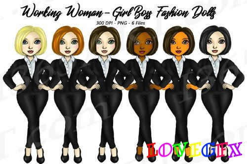 Working Woman Fashion Clipart, Girl Boss Digital Graphics - 305899