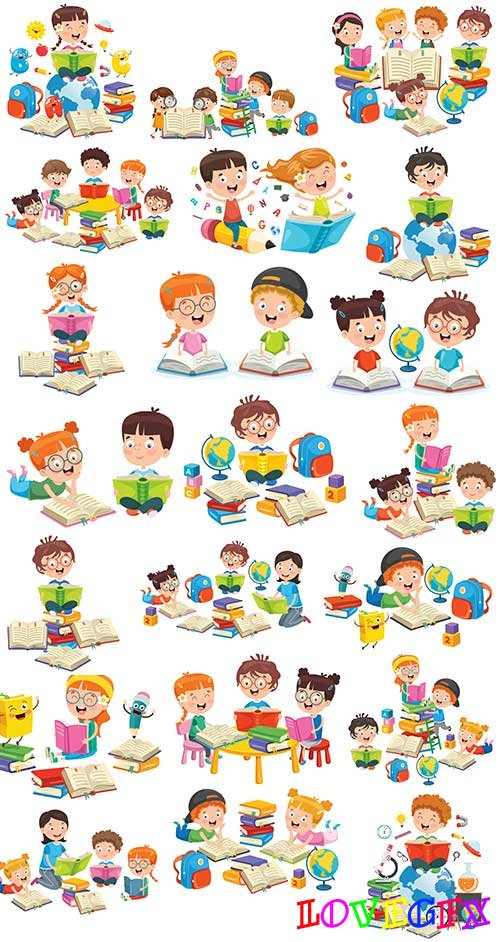Children have lessons - Vector Graphics