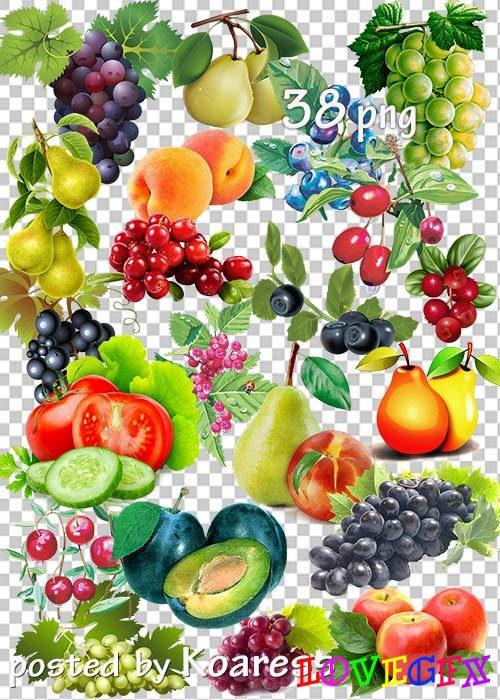 Clipart for design - Vegetables, fruits, berries