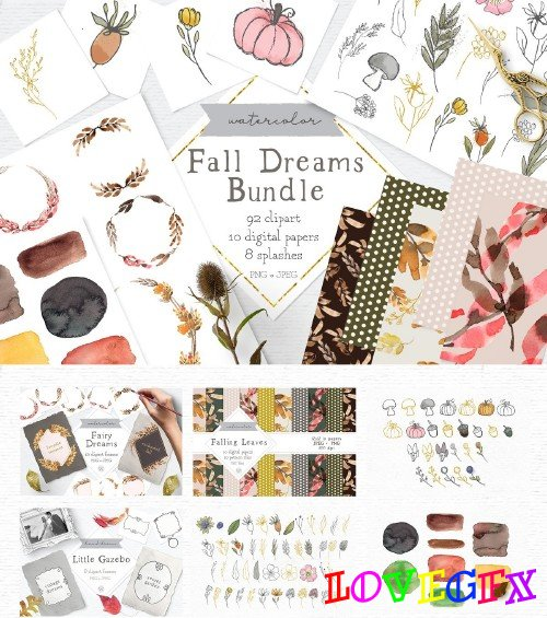 Fall clipart and pattern bundle - 3971364