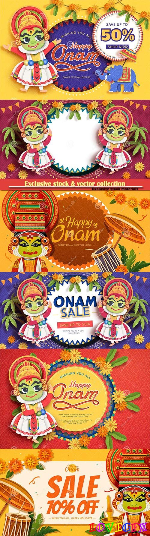 Happy Onam festival sale design with cute Kathakali dancer