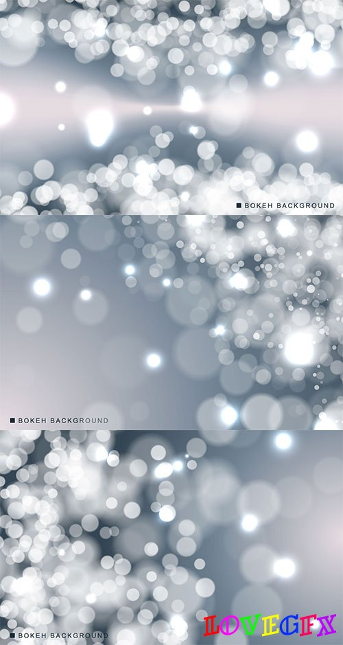 Silver backgrounds with bokeh - Vector Graphics