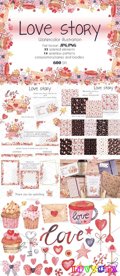 Love Story watercolor set - 4348874
