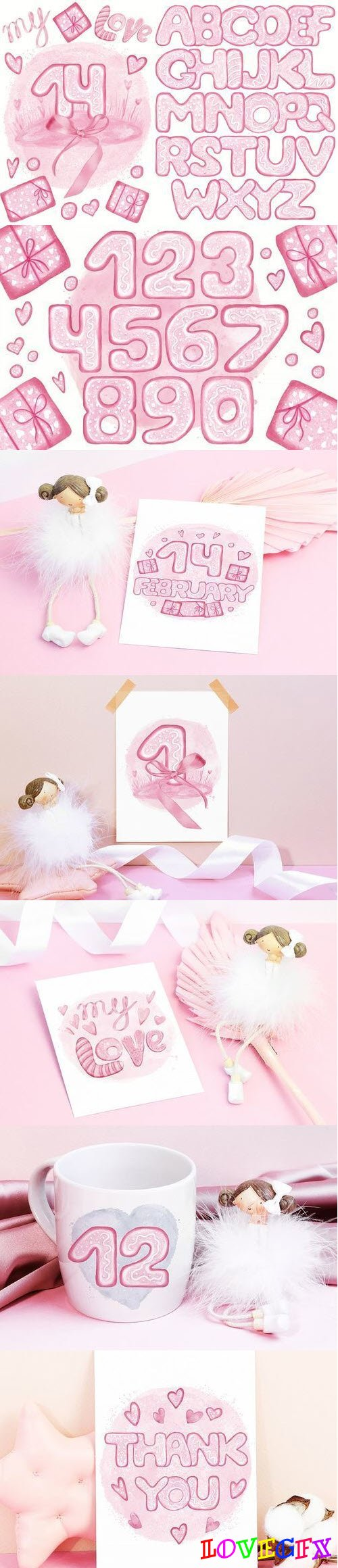 Pink Lovely Font Set. Valentine's Day. Food Letters Numbers - 415864