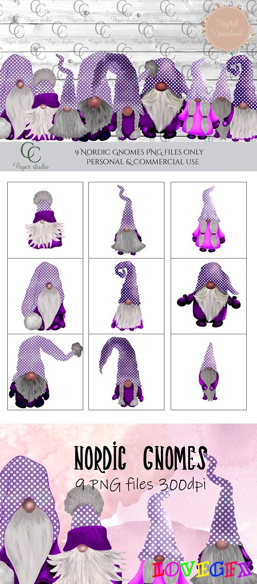 Scandinavian Tomte Gnomes - Purple Polka - 415853