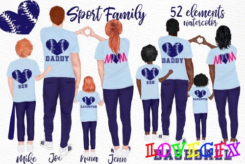 Sport Family Clipart, Baseball mom - 4445328