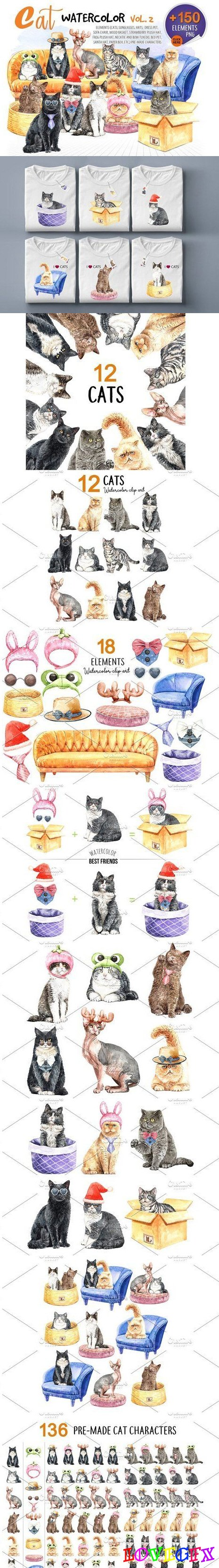 Cats Watercolor Vol 2. Pet Clip Art - 4443095