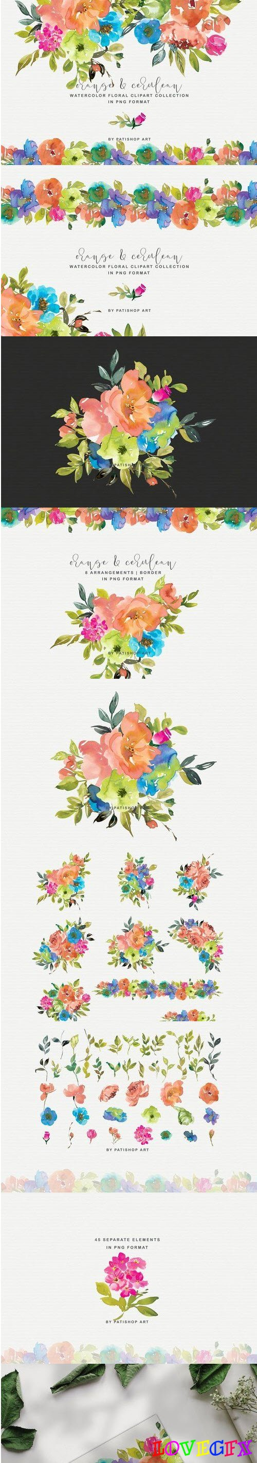Orange & Blue Floral Clipart Set - 4445542