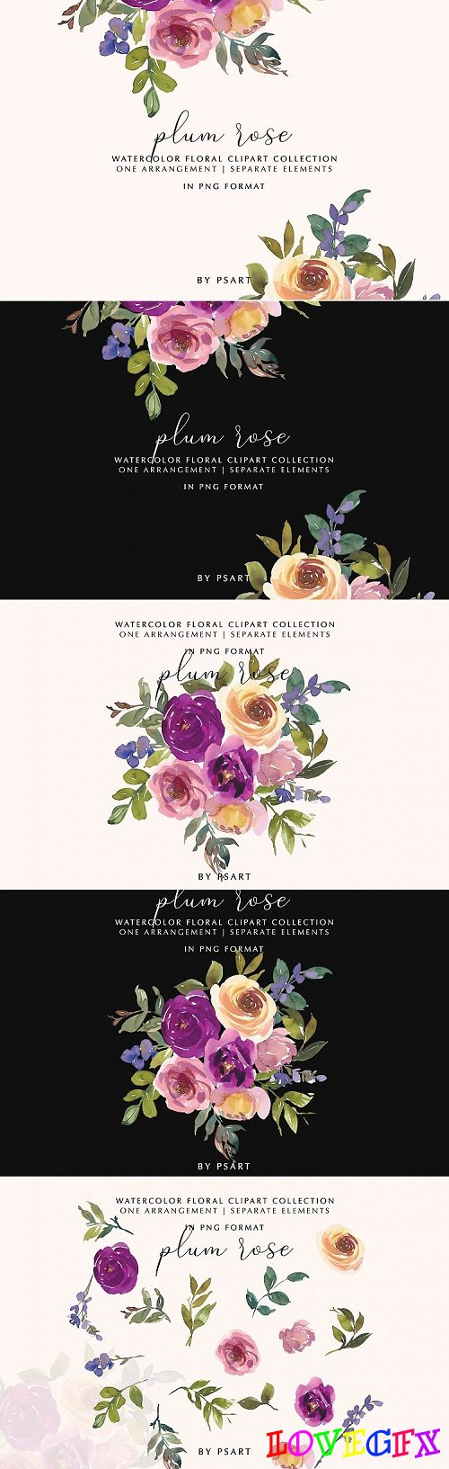 Plum and Blush Watercolor Floral Clipart Collection - 415940