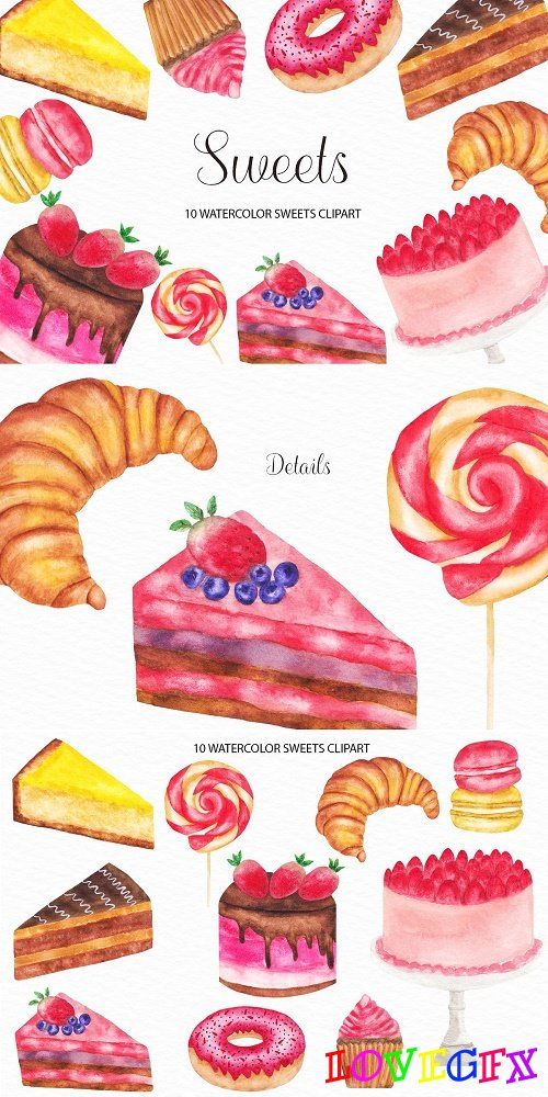 Watercolor Sweets Illustration - 4436860